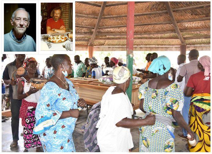 De begrafenis van Jan Beekman (inzetjes linksboven) in Burkina Faso, waar zijn leven gevierd werd.