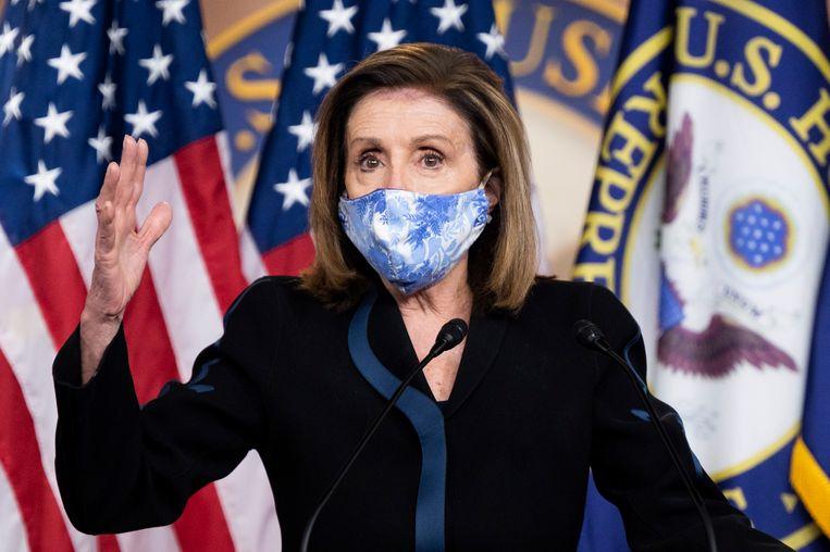 Is er op 20 januari geen president, dan wordt Nancy Pelosi, de Democratische fractieleider van het Huis van Afgevaardigden, interim-president.  Beeld Photo News