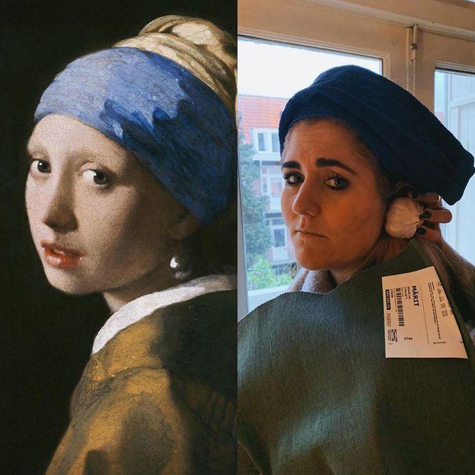 De Prinsenbeekse Anneloes Officier (31) bedacht een challenge voor de thuiswerkers: maak een bekend schilderij na met drie voorwerpen uit huis. Zelf maakte ze 'Meisje met de parel' na van Johannes Vermeer.