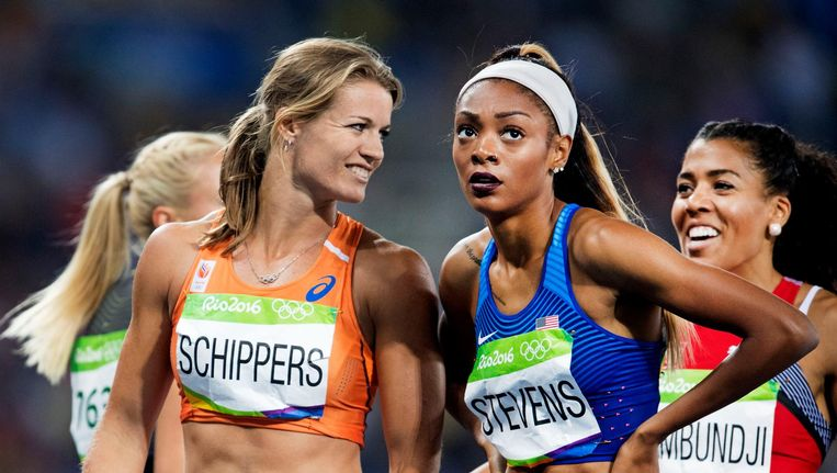 965ee941dad70b ... Schippers en Stevens na de halve finale van de 200 meter sprint Beeld  anp