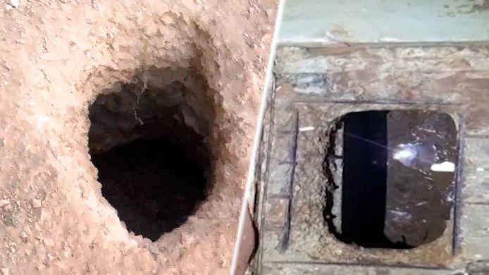 Het gat waar de gevangenen uitkwamen (links) en het begin van de tunnel in hun cel (rechts).