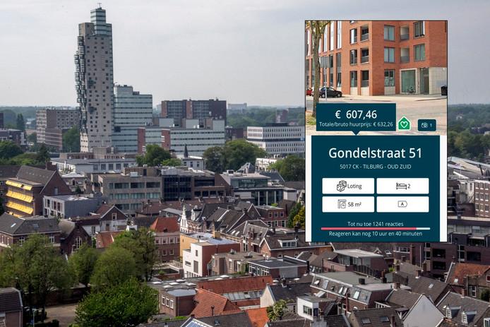 De skyline van Tilburg. Inzet: het appartement aan de Piushaven