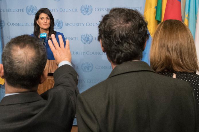 De Amerikaanse ambassadeur bij de Verenigde Naties Nikki Haley.