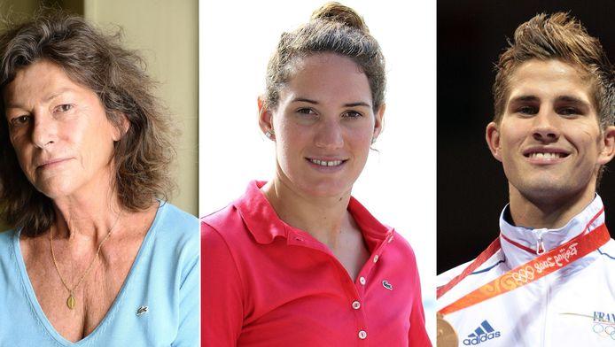 De Franse atleten die omkwamen bij de helikoptercrash, van links naar rechts zeiler Florence Arthaud, zwemster Camille Muffat en bokser Alexis Vastine.