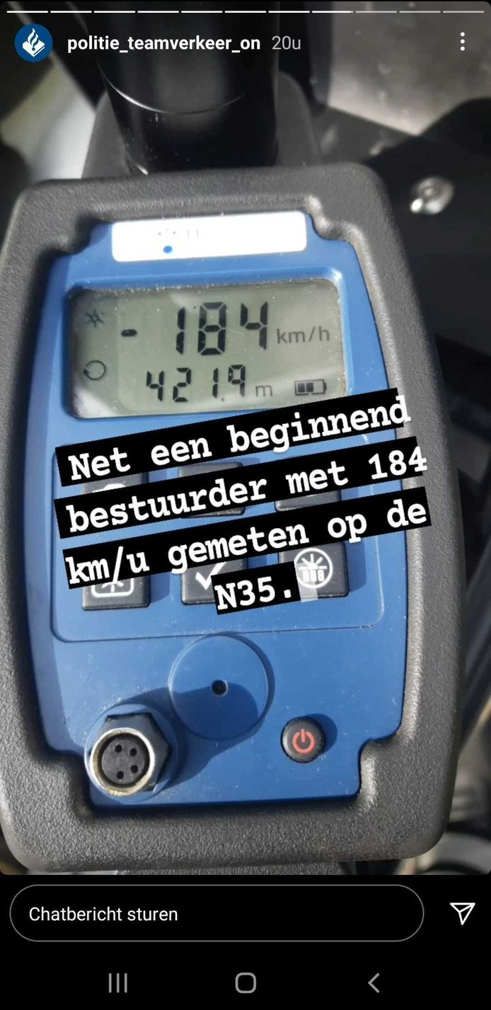 Team Verkeer Oost-Nederland meldt op Instagram dat op de N35 een beginend bestuurder met 184 km per uur over de N35 reed ter hoogte van Wijthmen.