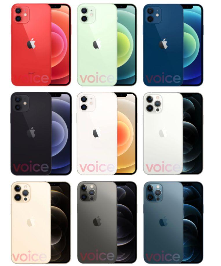 De verschillende kleuren van de nieuwe iPhones. Beeld 9to5Mac