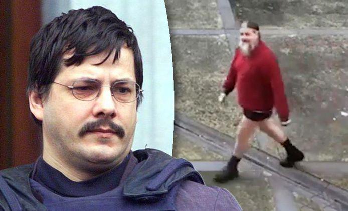 Marc Dutroux in korte broek, op de binnenplaats van de gevangenis.