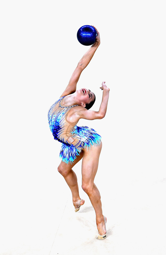 De Australische Danielle Prince in actie in Rio tijdens het individuele onderdeel van de ritmische gymnastiek.