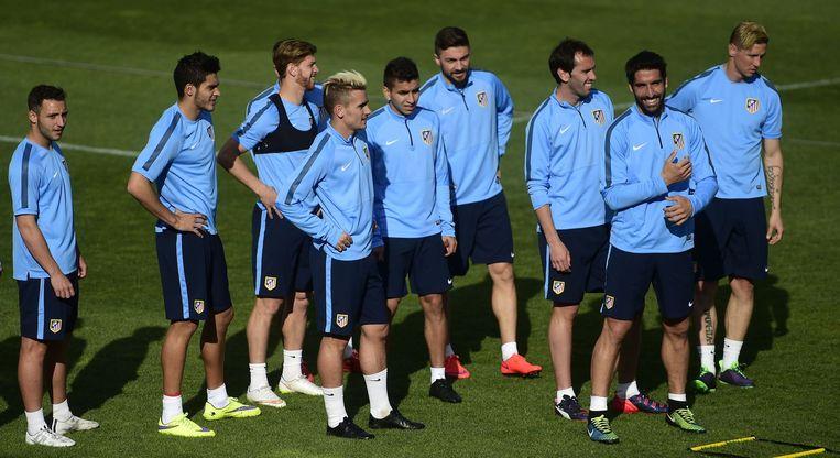 Spelers van Atlético gisteren tijdens een training. Beeld null