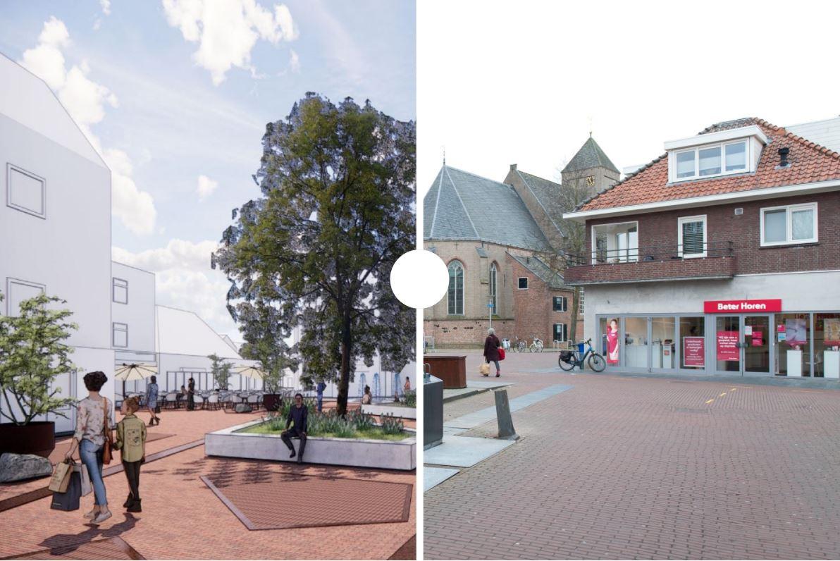 De verschillen tussen de toekomst en de huidige situatie in het centrum rond de Grote Markt en de Plaskerk