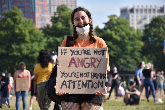 Een demonstrant op het Malieveld in Den Haag.