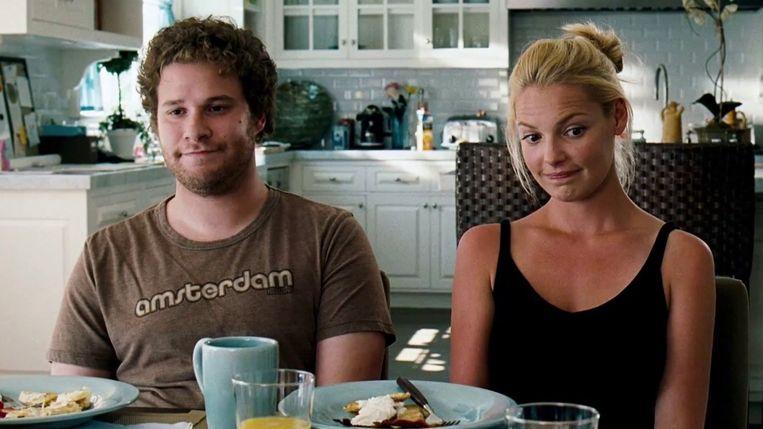 Seth Rogen en Katherine Heigl in Knocked Up (Judd Apatow, 2007). Beeld
