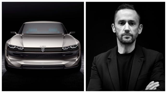 Matthias Hossann, de nieuwe hoofdontwerper van Peugeot, naast zijn bejubelde Peugeot e-Legend concept car