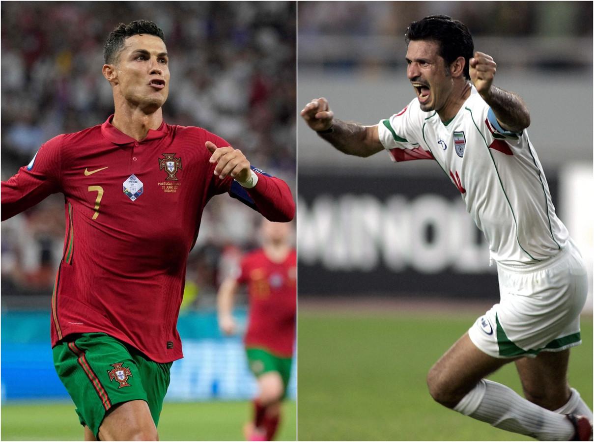 Ronaldo (l) evenaarde tegen Frankrijk het record van Ali Daei (r).