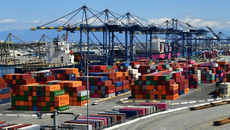 Containers in de haven van Los Angeles. Beeld AFP