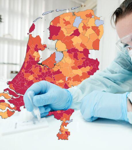 CORONAKAART | In veel gemeenten serieuze stijging besmettingen: kijk hoe het zit in jouw regio