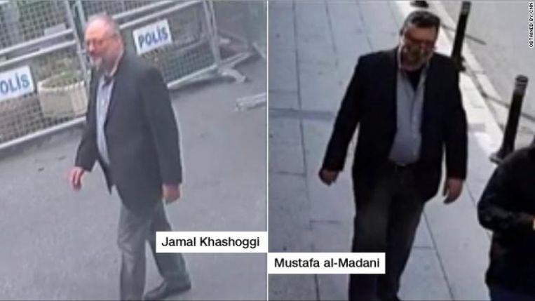 Beelden die CNN te pakken kreeg. Links is de echte Khashoggi te zien, rechts een dubbelganger die ons moest doen geloven dat de man het consulaat wel degelijk levend had verlaten. Beeld RV CNN