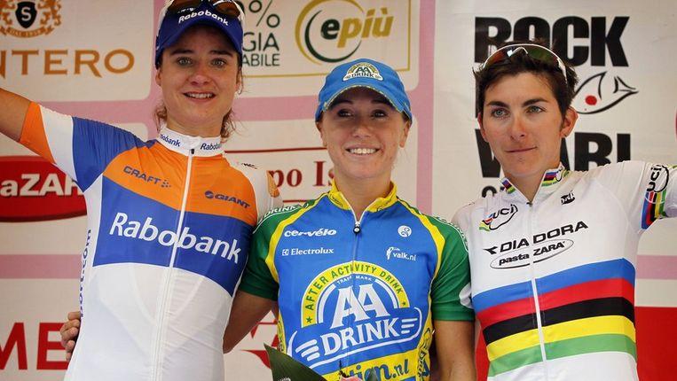 Marianne Vos, Shelley Olds en Giorgia Bronzini. Beeld PHOTO_NEWS