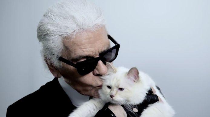 Karl Lagerfeld met kat Choupette.