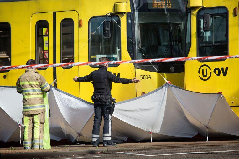 Bij de tramaanslag kwamen vier mensen om het leven.  Beeld Arie Kievit