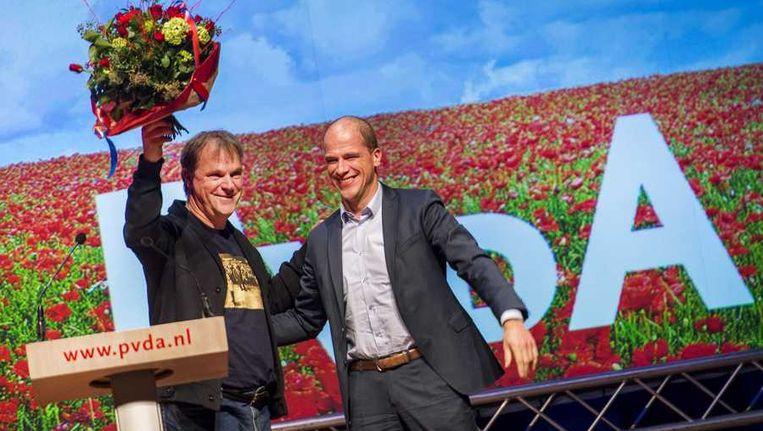 PvdA-partijvoorzitter Hans Spekman en Diederik Samsom tijdens het PVDA-congres. Beeld anp