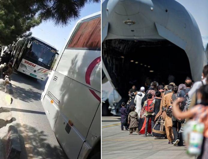 De mensen werden met bussen naar de luchthaven gebracht/ Archiefbeeld: vluchtelingen op de luchthaven van Kaboel