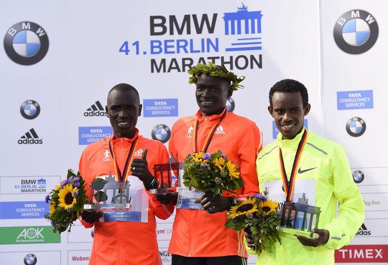 Het podium van de Berlijnse marathon. Beeld afp