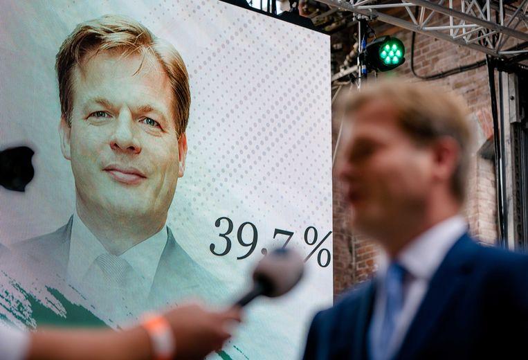 Pieter Omtzigt na afloop van de bekendmaking van de eerste stemmingsronde voor de lijsttrekkersverkiezing van het CDA.  Beeld ANP
