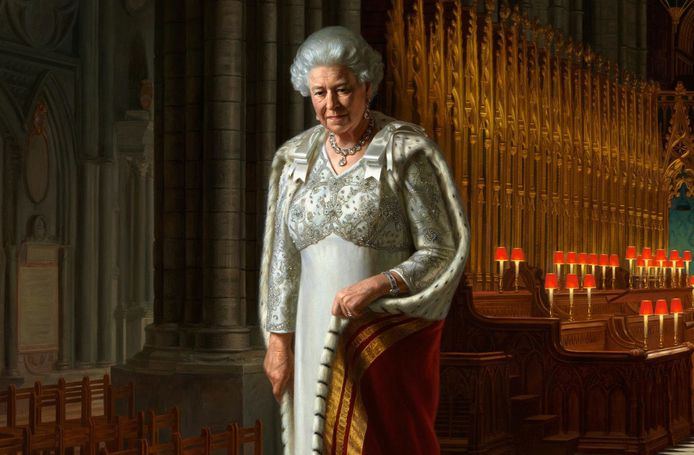 Een portret van Queen Elizabeth.