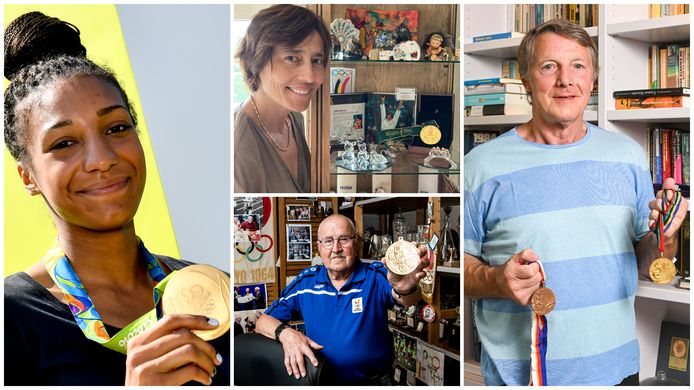 Nafi Thiam, Ulla Werbrouck, Gaston Roelants en Robert Van de Walle tonen hun gouden medaille.