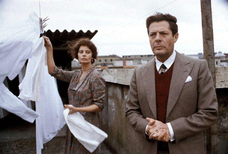 Sophia Loren en Marcello Mastroianni in Una giornata particolare van Ettore Scola. Beeld