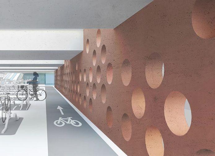 Een simulatie van de toekomstige fietsparking Groenplaats op niveau -1.