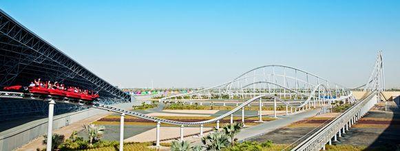 De Formula Rossa, in het park Ferrari World in Abu Dhabi.