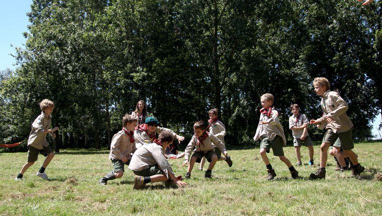 Scouts ravotten op kamp (archieffoto). Beeld BELGA