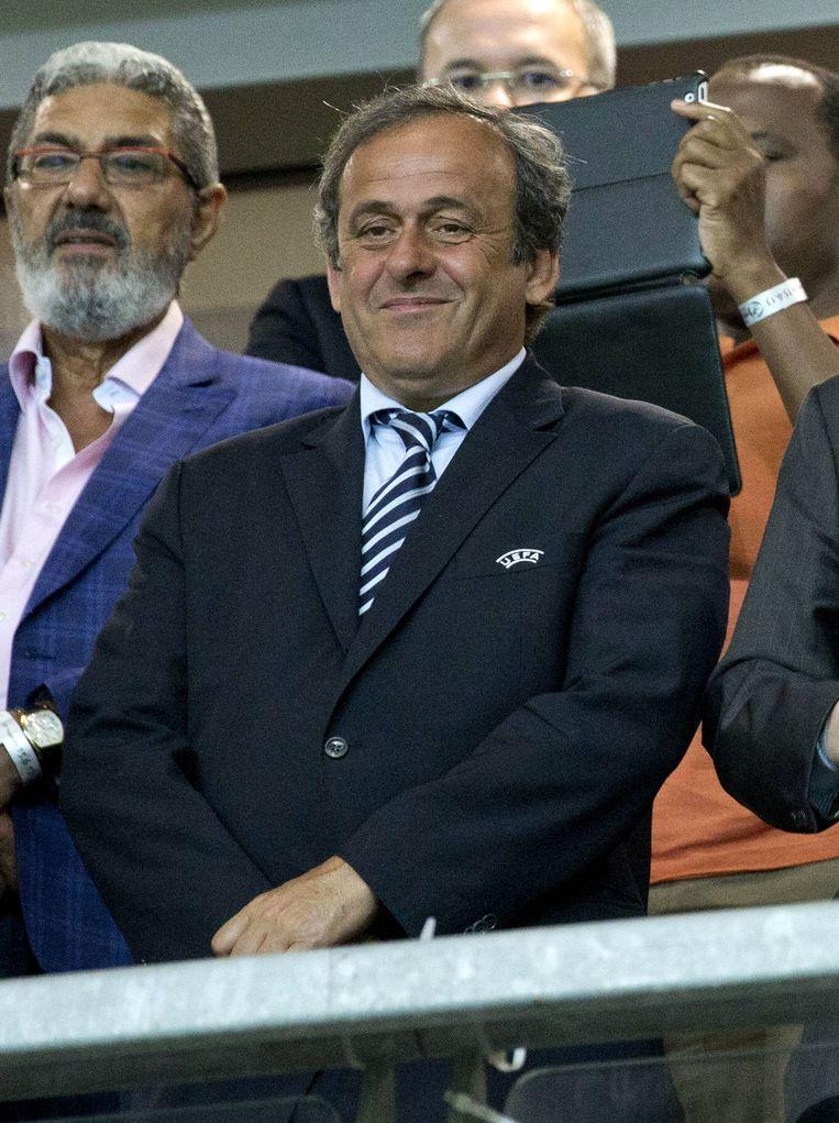 UEFA president Michel Platini attends the 2013 UEFA U-21 Championship semi-final football match between Italy and Netherlands at HaMoshava Stadium in Petah Tikva, north of Tel Aviv, on June 15, 2013. Italy won 1-0. AFP PHOTO / JACK GUEZ Beeld null