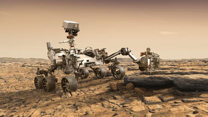 Een 3D-illustratie van de Mars Perseverance