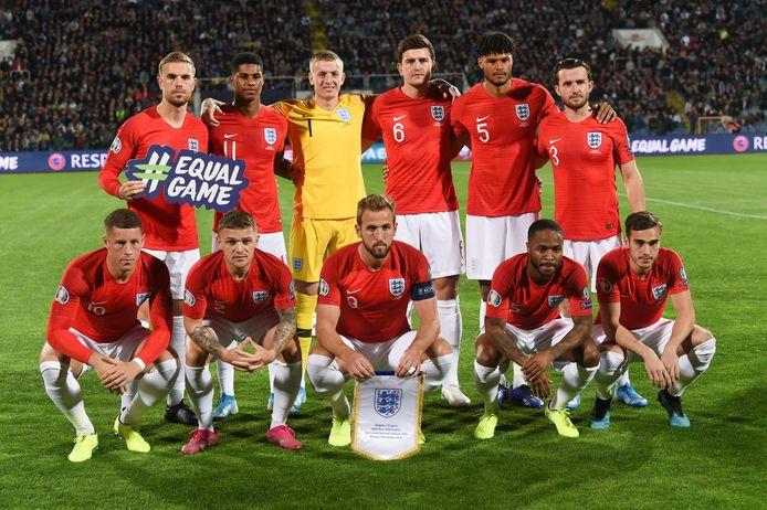 Engeland voor aanvang van de 999ste interland, uit tegen Bulgarije.
