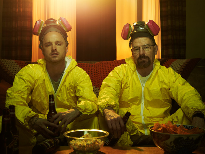 Jesse Pinkman (Aaron Paul) en Walter White (Bryan Cranston) in de serie Breaking Bad.