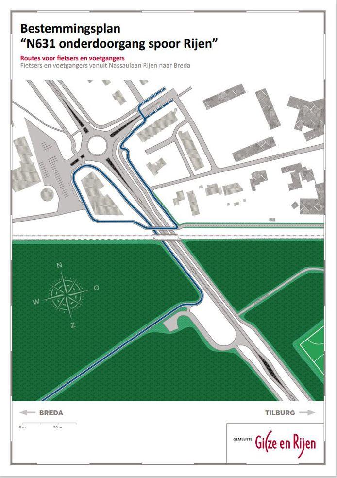 De route voor fietsers en voetgangers vanuit de Nassaulaan. Mogelijk komt er een oversteek bij de rotonde.