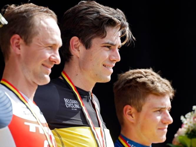 Van Aert is Belgisch kampioen na millimetersprint tegen Theuns en Evenepoel