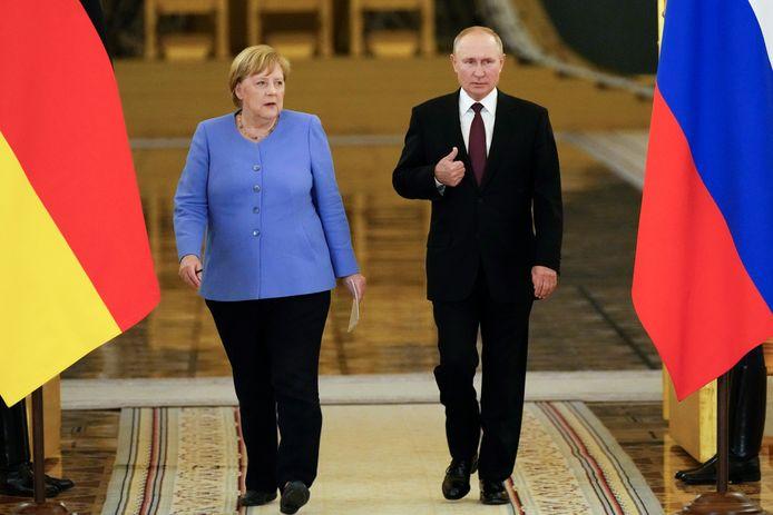 Merkel en Poetin in Moskou gisteren.