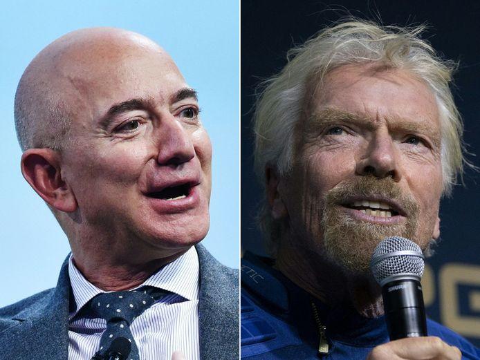 (COMBO) Le milliardaire britannique Richard Branson prévoit de voyager dans l'espace dès le 11 juillet à bord d'un vaisseau spatial de Virgin Galactic, a indiqué son entreprise dans un communiqué du 1er juillet 2021. Si le calendrier se maintient, Branson arriverait dans le cosmos avant son rival Jeff Bezos, le fondateur d'Amazon, qui a déclaré qu'il voyagerait dans l'espace à bord d'un vaisseau spatial de sa société Blue Origin le 20 juillet.
