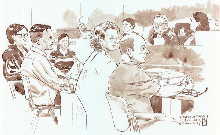 Souris R. (tweede van links) krijgt 18 jaar cel. Beeld ANP