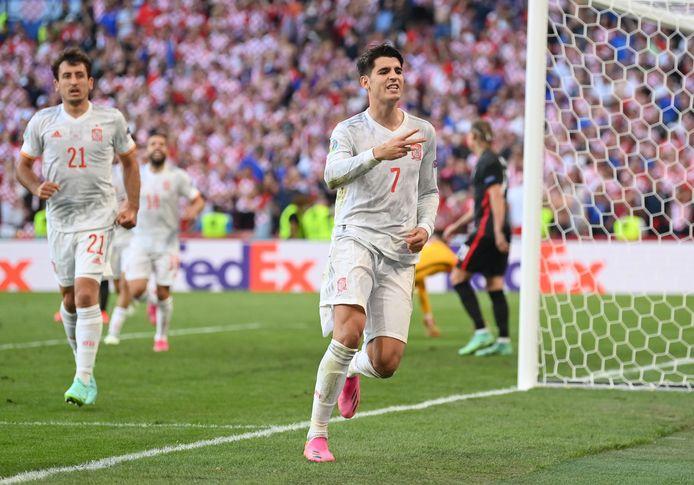 Alvaro Morata (Spanje) wrong al heel wat 'Expected Goals' de nek om. Hij kwam dit EK twee keer tot scoren.
