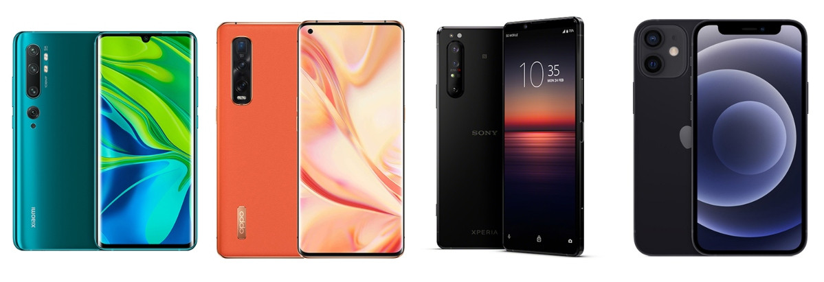 Van l naar r: Xiaomi Mi Note 10, Oppo Find X2 Pro, Sony Xperia 1 II en iPhone 12 Mini