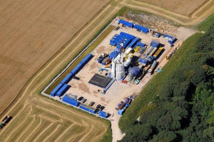 Een boorlocatie van Cuadrilla Resources in Engeland. foto Cuadrilla Resources