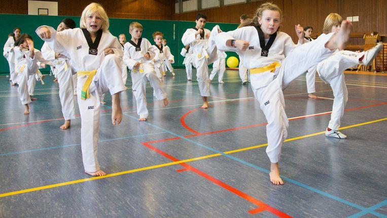 Taekwondoles in Diest. 'De huidige instroom is ongezien', zegt David Beckers van club Keumgang. 'Al trekken we toch vooral kinderen tussen 4 en 11 jaar aan.' Beeld Photo News