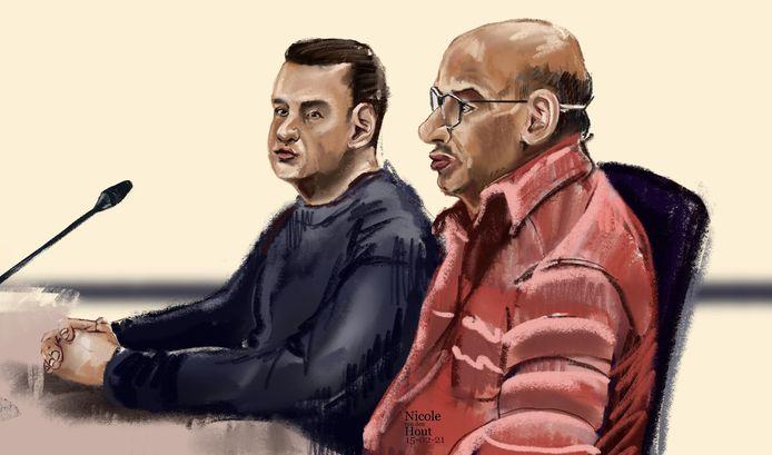 Rechtbanktekening van vader Dwarka B. (R) en diens zoon Manodj B. in de rechtbank.