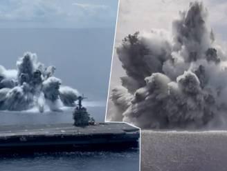 Amerikanen testen nieuw vliegdekschip met gigantische ontploffingen