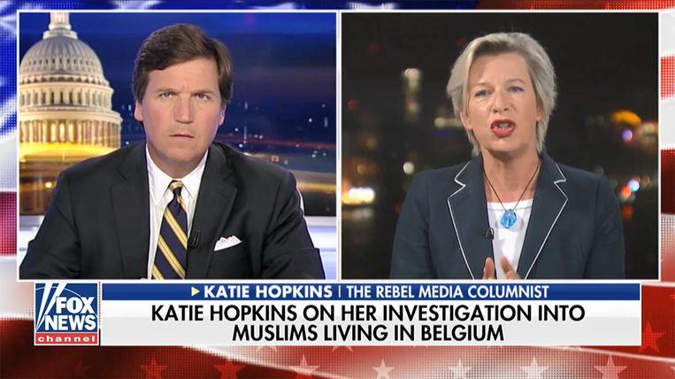 Katie Hopkins vertelt tegen Fox-presentator Tucker Carlson over haar bezoek aan Molenbeek. Beeld Fox News